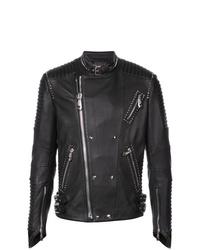 Philipp Plein Stud Detail Leather Jacket