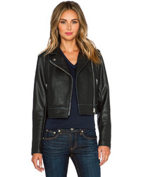 Alexander Wang T By Pebbled Leather Moto Jacket