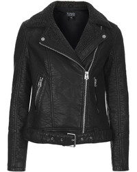 Topshop Textured Faux Leather Biker Jacket With Belted Hem And Grey Borg Collar And Lapels 100% Polyurethane Dry Clean Only