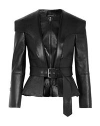 Alexander McQueen Textured Leather Belted Peplum Jacket