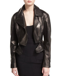 Tom Ford Zip Front Short Moto Leather Jacket Black