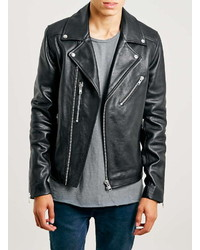 Topman Black Leather Biker Jacket