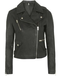 Topshop Tall Washed Leather Jacket
