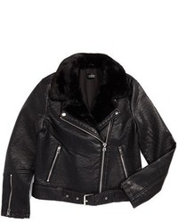 Topshop Vardy Faux Leather Biker Jacket