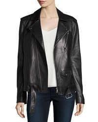 Theory Tralsmin Wilmore Leather Biker Jacket Black
