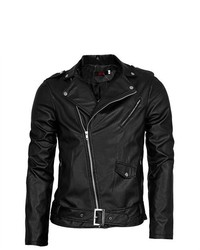 Unique-Bargains Slant Zip Closure Front Fashion Leather Look Biker Jacket Blackm