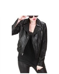 United Face Motorcycle Washed Leather Biker Jacket
