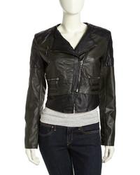 Raison D'etre Vegan Leather Moto Jacket Blackolive