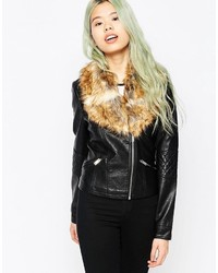 Vero Moda Lala Fur Trim Faux Leather Biker Jacket