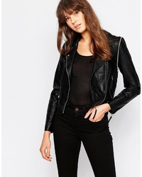 Vero Moda Pu Jacket With Asymmetric Zip