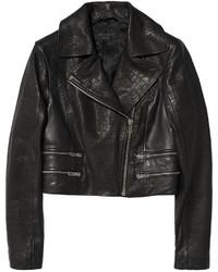 Rag & Bone Vespa Croc Effect And Smooth Leather Biker Jacket