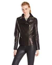 Via Spiga Asymmetrical Leather Moto Jacket