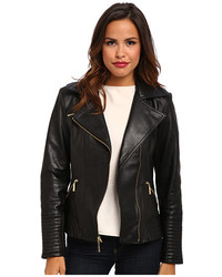 Vince Camuto Leather Moto Jacket With Quilted Trim G8931