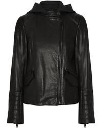 Vince Leather Biker Hooded Jacket