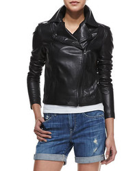 Vince Smooth Leather Motorcycle Jacket Black