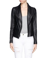 Vince Wool Panel Lamb Leather Jacket