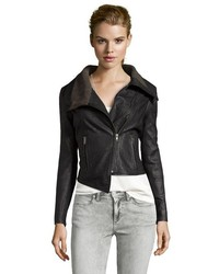 Walter Black Leather Nate Convertible Zip Moto Jacket