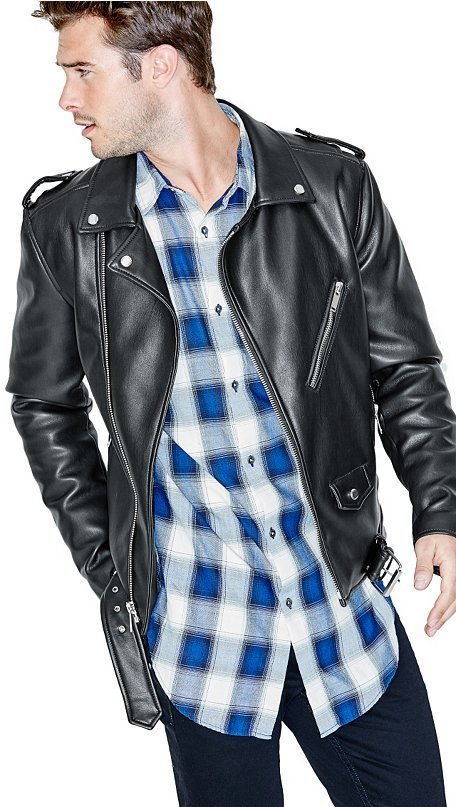 Guess Warren Faux Leather Moto Jacket Where To Buy How To Wear