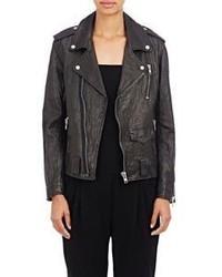 Nili Lotan Washed Leather Biker Jacket Black