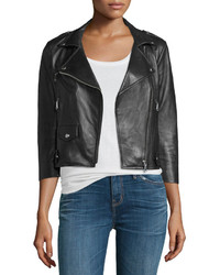 Rebecca Minkoff Wes Cropped Leather Moto Jacket Black
