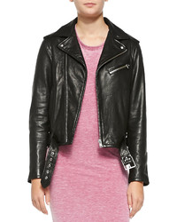 IRO Wilma Asymmetric Zip Leather Moto Jacket