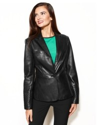 Anne Klein Leather Quilted Shoulder Blazer