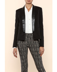 Art Co Faux Leather Collar Blazer