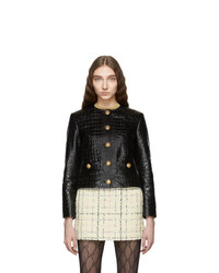 Gucci Black Croc Button Blazer