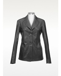 Forzieri Black Italian Leather Blazer