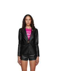 Versace Black Leather Safety Pin Blazer