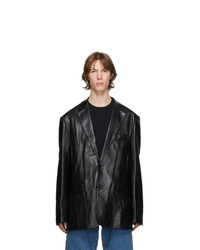 Vetements Black Leather Suit Jacket