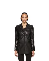 Yang Li Black Patent Faux Leather Cut Out Blazer