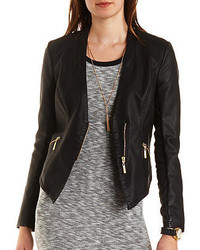 Charlotte Russe Collarless Faux Leather Moto Blazer