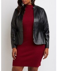 Charlotte Russe Plus Size Faux Leather Peplum Jacket