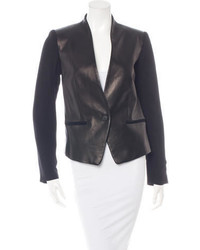 Rag & Bone Collarless Leather Paneled Blazer