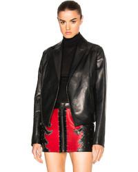 Anthony Vaccarello Cropped Gathered Back Leather Blazer