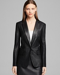 DKNY Notch Collar Perforated Leather Blazer