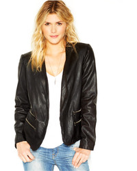 Lucky Brand Double Pocket Leather Blazer