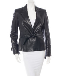 Escada Scallop Trimmed Leather Blazer