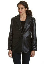 Excelled Quilted Leather Blazer