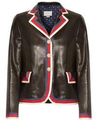 Grosgrain trimmed appliqud leather blazer black medium 972042