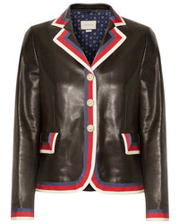 Gucci Grosgrain Trimmed Appliqud Leather Blazer Black