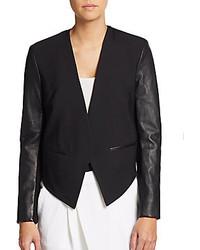 Helmut Lang Cropped Leather Paneled Tuxedo Blazer