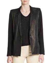 Helmut Lang Knit Paneled Leather Jacket