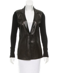 Gucci Leather Accented Wool Blazer