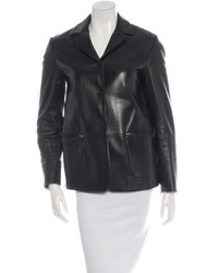 Prada Leather Collared Blazer