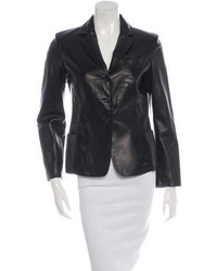 Prada Leather Narrow Lapel Blazer