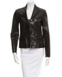 Prada Leather Notch Lapel Blazer