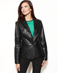 Anne Klein Leather Quilted Shoulder Blazer