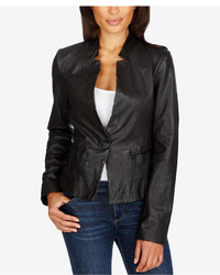 Lucky Brand Leather Single Button Blazer
